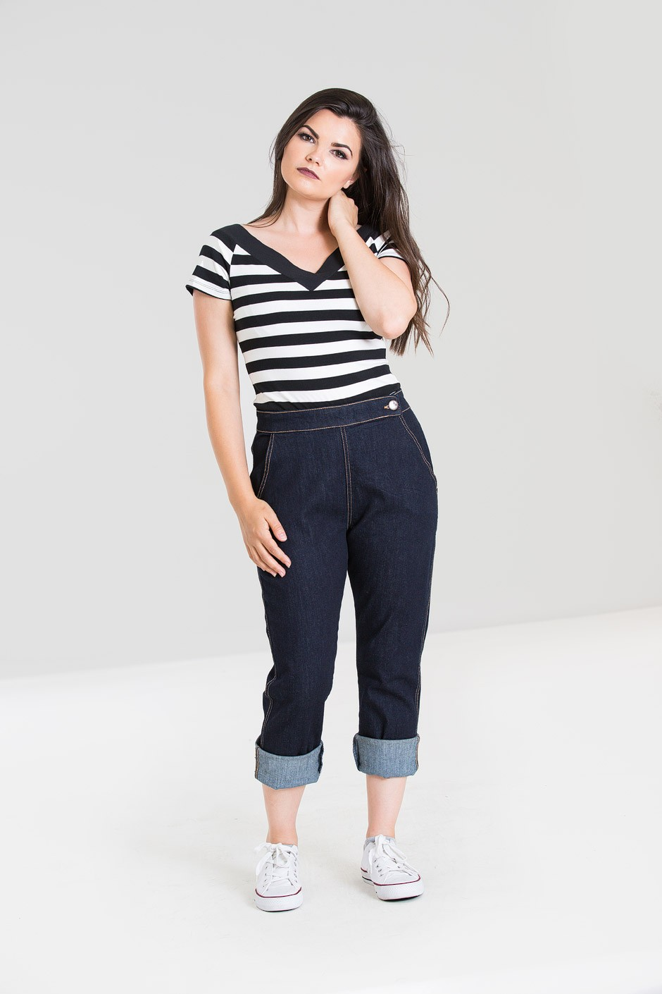 Pantalon corsaire en jean rétro