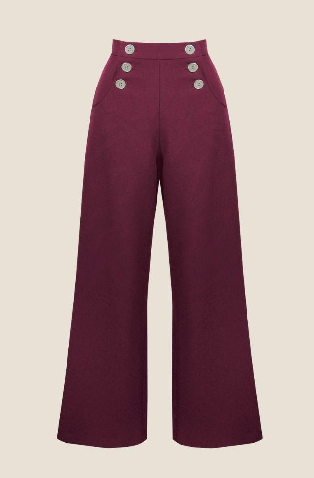 pantalon marin rétro, bordeaux,
