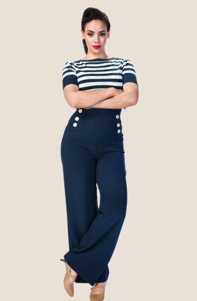 Pantalon rétro style marin