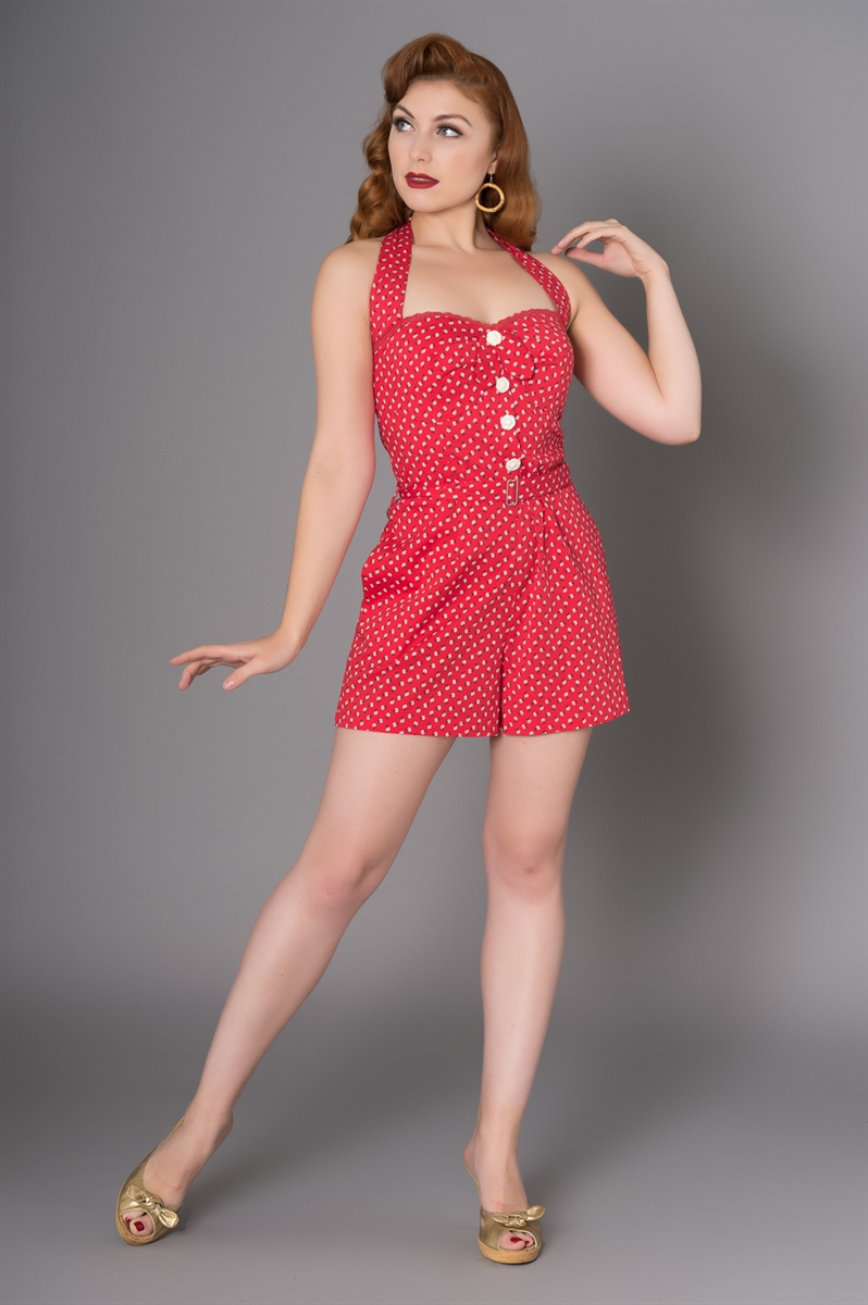 Combishort rouge style vintage